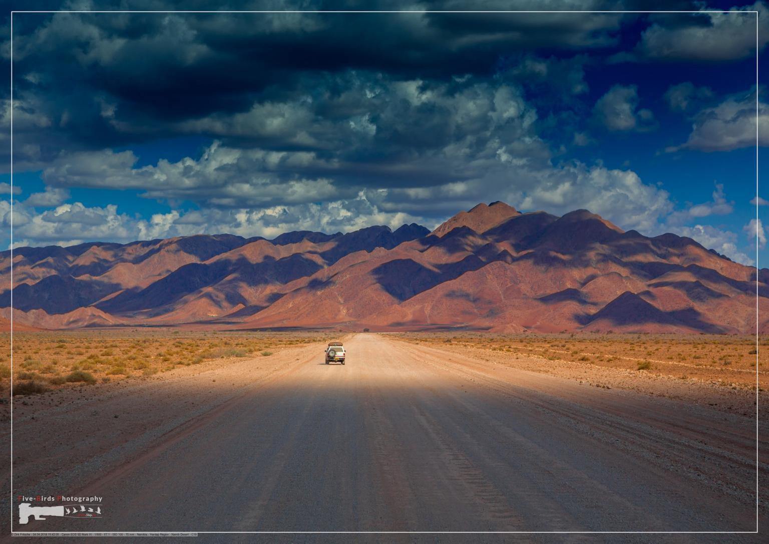 Dust road at the namib desert in Namibia