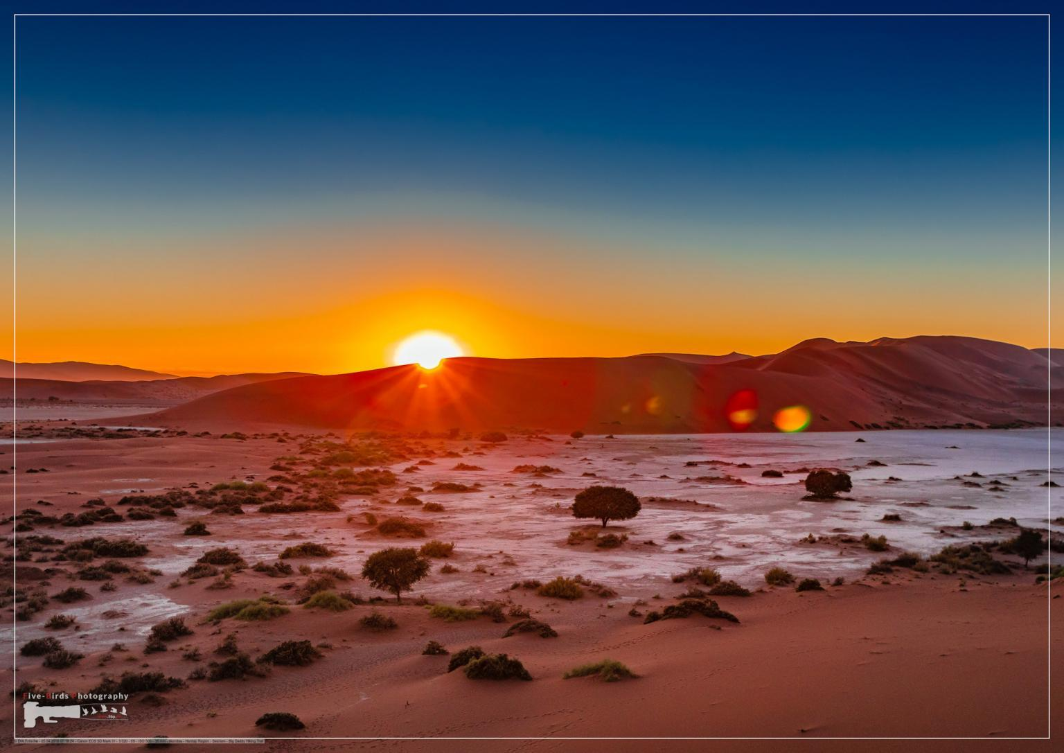 Spectacular morning sunrise at Sossusvlei in the Namib Desert