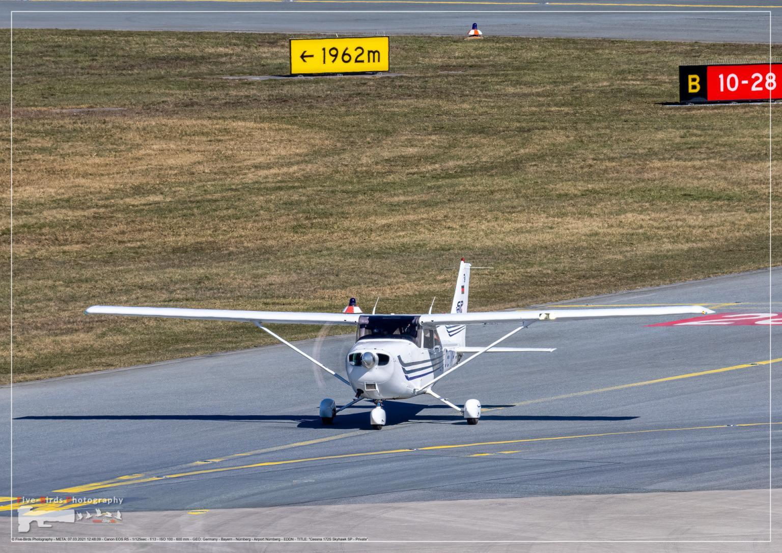 A private propeller plane is heading to the runway at the Albrecht Duerer Airport in Nuremberg in Germany