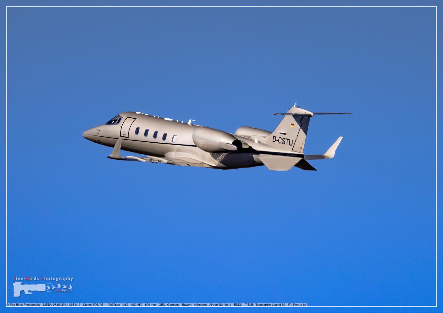 A business Jet short after take-off  from the Albrecht Duerer Airport in Nuremberg in Germany