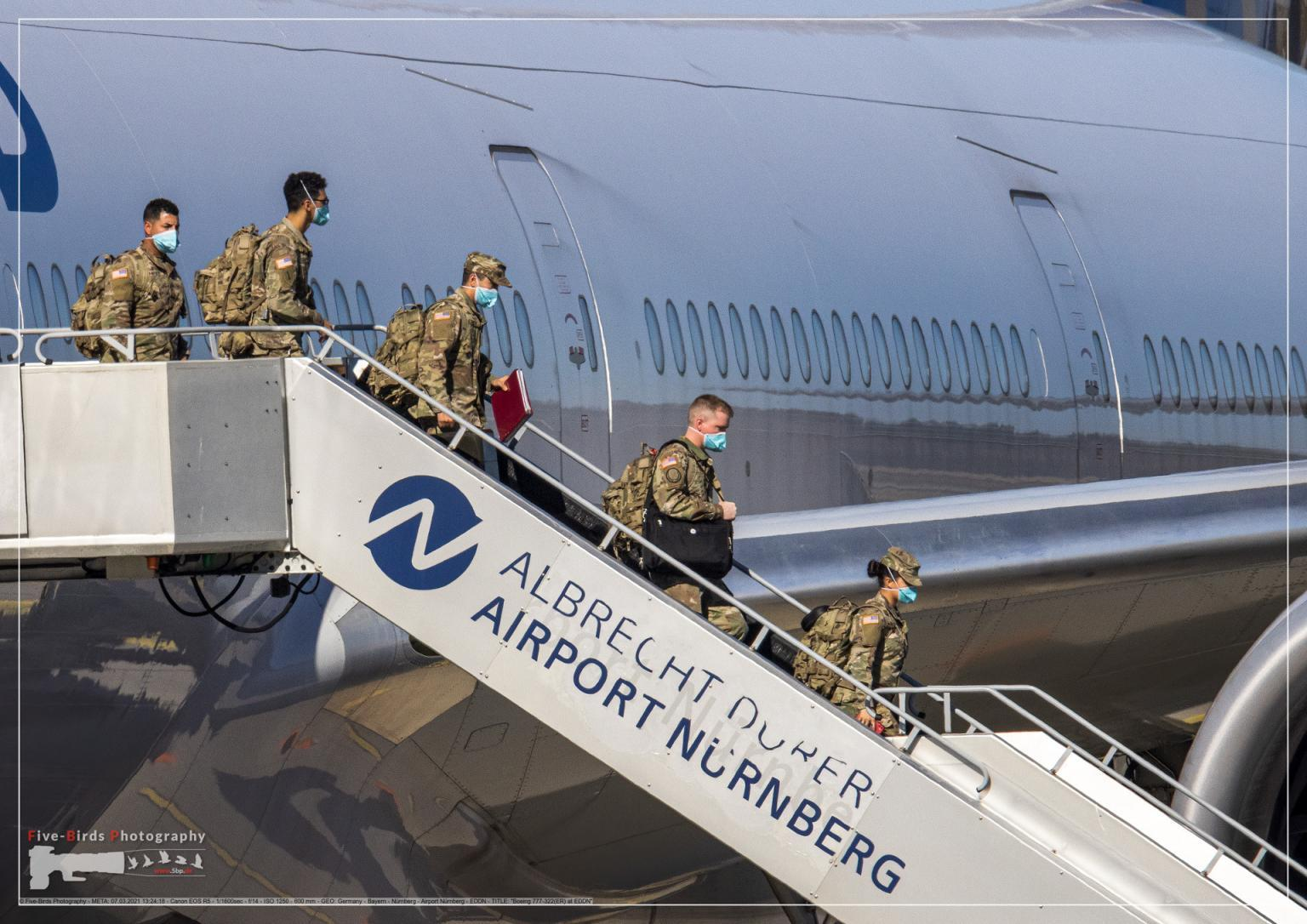 US troops are deboarding from a special flight at the Albrecht Duerer Airport in Nuremberg in Germany