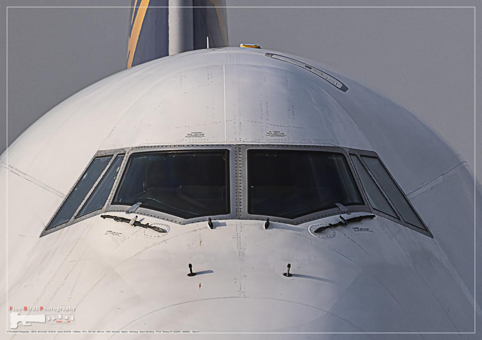 Boeing 747-322 at parking position at Nuremberg airport
